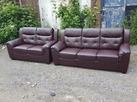 Lovely brown leather 3 and 2 seater sofas. 1 month old,as new. never used. can deliver