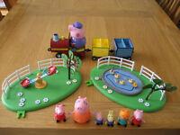 Peppa Pig Train Set, Playground, Pond & figures