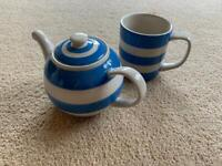 Cornishware tea cup and kettle for one