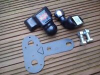 Flanged 50mm Tow-ball (little used), cover, new M16 bolts, washers and nuts plus wiring bracket