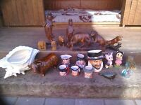job lot wooden and the porcelain ornaments