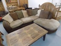Lovely Brown Fabric Comfy DFS Corner Sofa