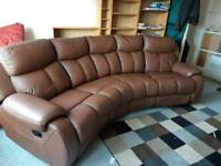 Leather curved sofa
