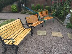 Cast iron ended garden benches individually priced