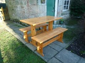 Pine table and benches