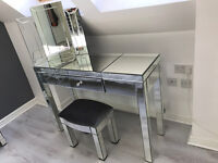 Mirrored dressing table + stool