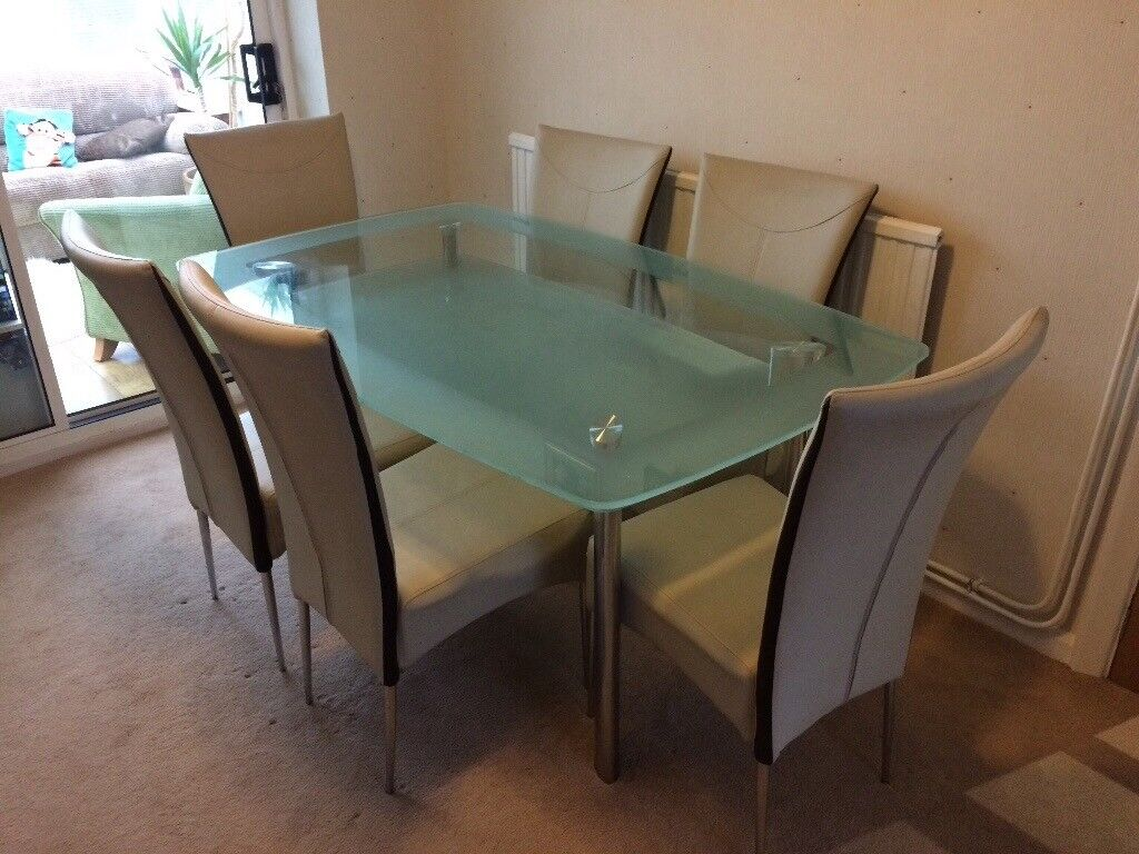 Glass Dining Table And 6 Chairs From Furniture Village In