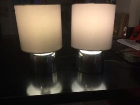 Silver touch bedside lamps