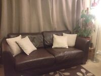 Chocolate brown leather 3 and 2 seater sofa excellent condition