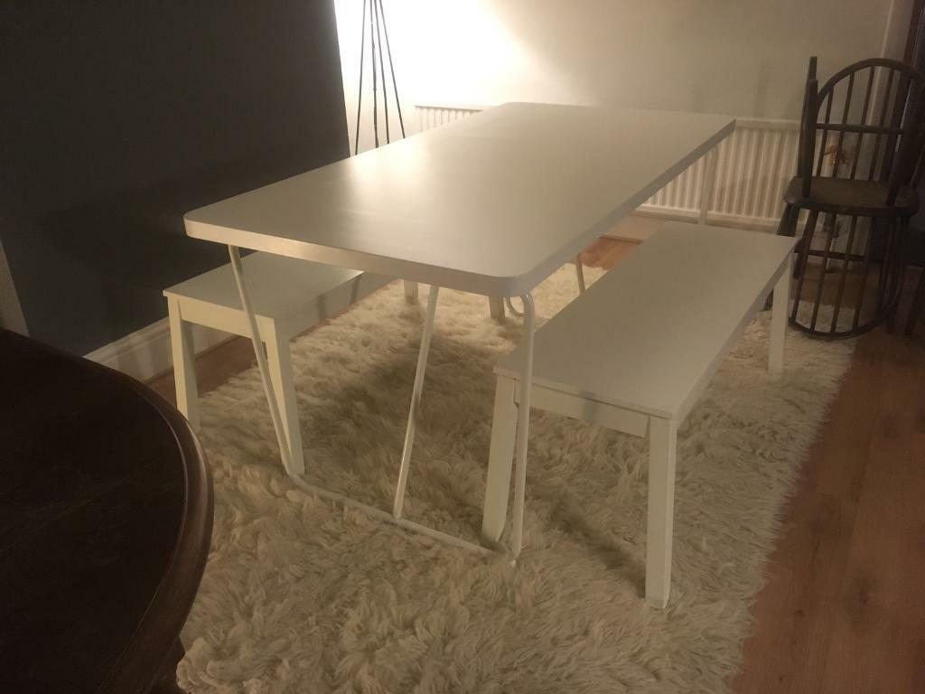 Surprising Ikea Dining Furniture Table And Benches White In Wroughton Wiltshire Gumtree Ocoug Best Dining Table And Chair Ideas Images Ocougorg