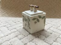 Vietnamese Floral Cube Pot with Hamd Made Miniature Bamboo Lid