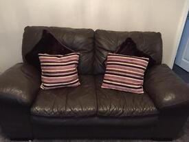 Brown leather 2 seater and 3 seater settee
