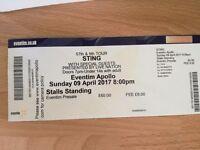 REDUCED! Sting - Standing ticket 9th April, Eventim Apollo, London. 9th April.