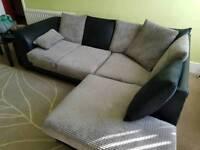 Black and grey fabric corner sofa