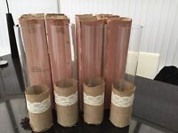 wedding glass table centres vases - hessian and lace wrap x 8 Bargain to clear free delivery hull