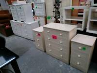 White chests of drawers and cream sets