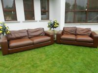 2 Large Brown Leather Sofas