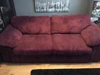 Aubergine coloured sofa