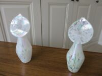 Two jack in the pulpit vases with iridescent finish