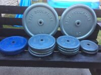 148KG OF BODY SCULPTURE CAST IRON WEIGHT PLATES