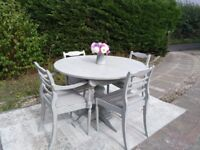 Beautiful, Vintage Round Oak Dining Table & 4 Chairs. Shabby Chic, Pale Grey. Delivery Available.