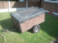 Classic Car trailer 4ft x 3ft tows well electrics work used for camping tip runs etc