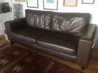 Brown leather sofa - urgent sale, collection only