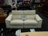3 seater electric recliner sofa upholstered in cream leather - British Heart Foundation