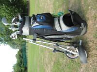 full set of golf clubs, bag and trolley. 2woods,10irons + putter. everything to get playing!