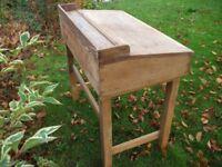 school desk vintage classic antique pine oak table work top teaching storage box
