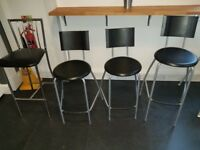 Lot of 4 Bar/Breakfast Stools - Black with Metal Frame