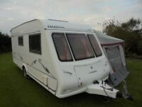 COMPASS OMEGA 482 2 BERTH TOURING CARAVAN 2005 SINGLE AXLE WITH FULL AWNING AND MOTOR MOVER