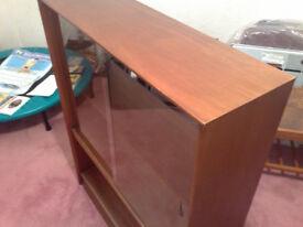 Beautiful Solid Teak Wood Glass Display Cabinet / Book Case