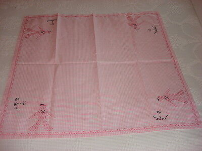 "Vintage PINK GINGHAM CHECK CROSS-STITCH EMBROIDERED TABLECLOTH 32""x35"" Sailors"