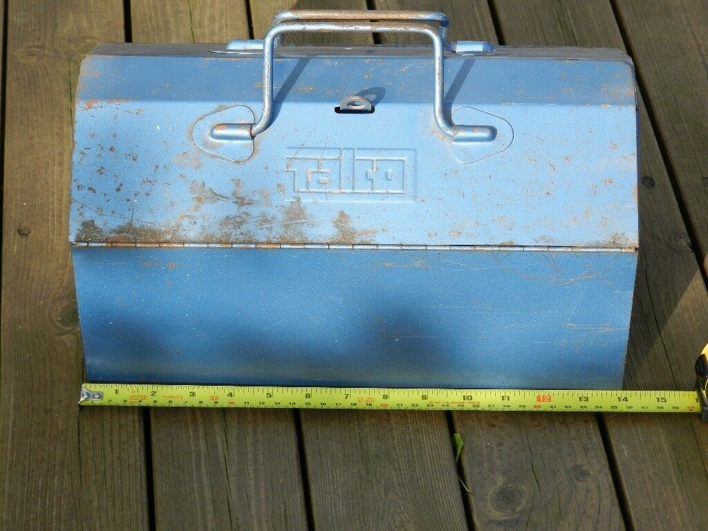 Talco metal toolbox 36cm (14 inches) long x 20cm (8 inches) wide x 20cm (8 inches) high.