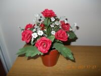 Silk Red Rose Plant in Pot