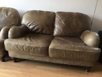 PAIR OF VINTAGE / RETRO LEATHER TWO SEATER SOFAS GREAT LOOKING NICE PATINA LOCAL DELIVERY