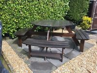 GARDEN FURNITURE eight seater garden hardwood table and chairs