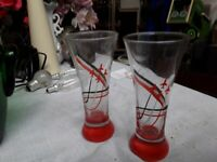 2 red arrow glasses collector's item 6 inches tall