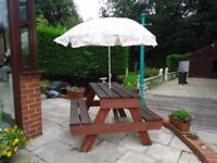 PICNIC TABLE BENCH AND PARASOL