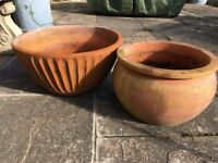 Two terracotta pots great for spring bulbs
