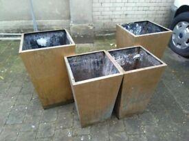 Four large metal plant pots central London bargain