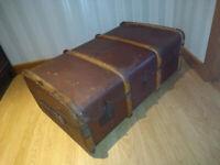Large Antique Bentwood / Braced Steamer Travel Trunk -ge Suitcase Luggage Storage Victorian