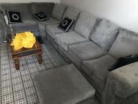 Verona left hand side corner sofa 6 seater with footstool