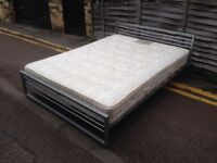 Metal king size bed with mattress