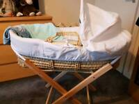 Moses basket. stand and bedding.