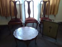 3 high back 1920's dining chairs.