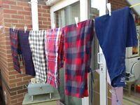Mens Lounge pants/pyjama bottoms (5 pairs) and a long sleeve buttoned pyjama top