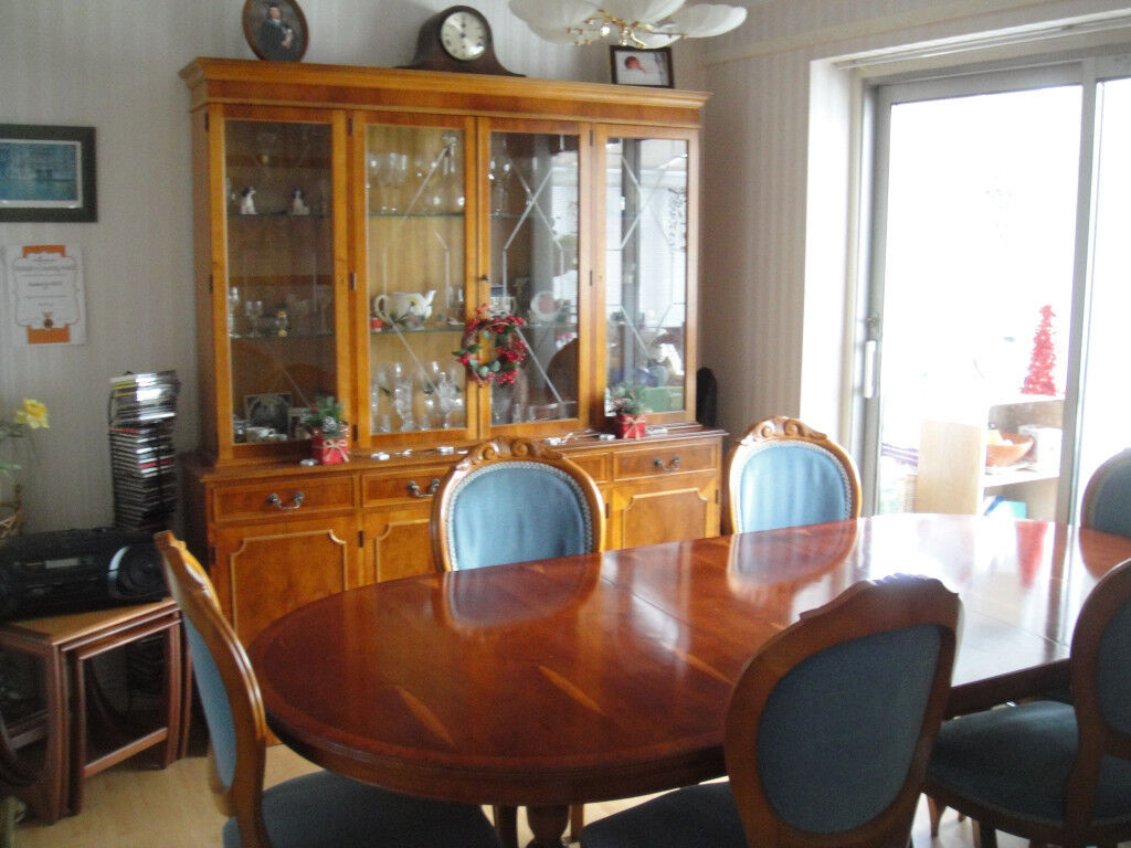 Reproduction Dining Table Chairs And Matching Sideboard Glass Display Cabinet
