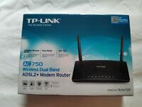 TP LINK ARCHER D20 AC750 WIRELESSS DUAL BAND ADSL2+ MODEM ROUTER